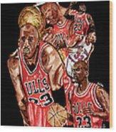 Michael Jordan Wood Print by Israel Torres