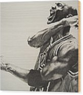 Michael Jordan Wood Print by Jake Stapleton