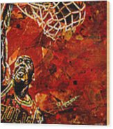 Michael Jordan Wood Print by Maria Arango