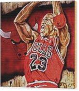 Michael Jordan Oil Painting Wood Print