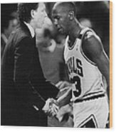 Michael Jordan Talks With Coach Wood Print