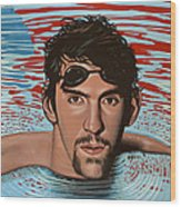 Michael Phelps Wood Print