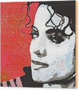 Michael Red And White Wood Print