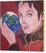 Michael's World Wood Print by Lorinda Fore