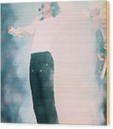 Micheal Jackson Performing On Stage Wood Print