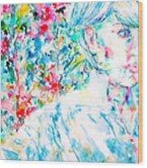 Michela In The Garden Wood Print