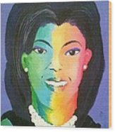 Michelle Obama Color Effect Wood Print