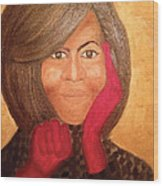 Michelle Obama Wood Print by Ginnie McKnight