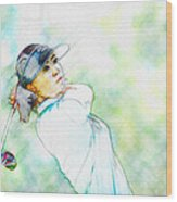 Michelle Wie Hits Her Tee Shot On The Sixth Hole Wood Print