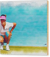Michelle Wie Lines Up A Putt On The Eighth Green Wood Print