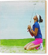 Michelle Wie Of The United States Reacts After Missed Off To A B Wood Print