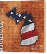 Michigan Amercian Flag State Map Wood Print