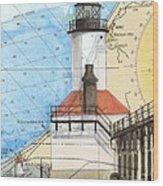 Michigan City Lighthouse In Nautical Chart Map Art Cathy Peek Wood Print