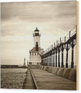 Michigan City Lighthouse Wood Print