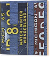 Michigan License Plate Art Lettering Wood Print