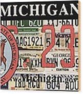 Michigan License Plate Wood Print