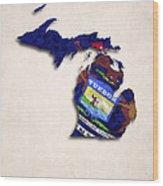 Michigan Map Art With Flag Design Wood Print