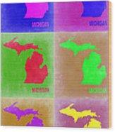 Michigan Pop Art Map 2 Wood Print