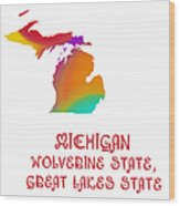 Michigan State Map Collection 2 Wood Print