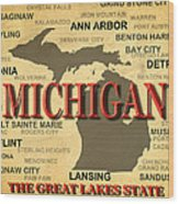 Michigan State Pride Map Silhouette  Wood Print