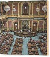 Michigan State Senate From Above  Wood Print