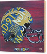Michigan Wolverines College Football Helmet Vintage License Plate Art Wood Print