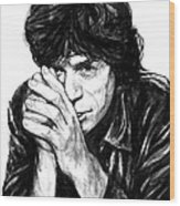 Mick Jagger Art Drawing Sketch Portrait Wood Print