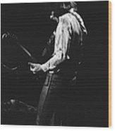 Mick Playing Guitar In 1977 Wood Print