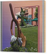 Mickey And Broom Floral Walt Disney World Hollywood Studios Wood Print