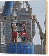 Mickey And Minnie In Living Color Wood Print