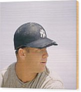 Mickey Mantle Ready To Swing Wood Print by Retro Images Archive