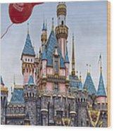 Mickey Mouse Balloon At Disneyland Wood Print