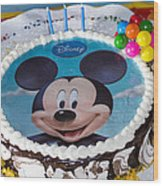 Mickey Mouse Cake Wood Print