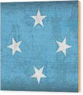 Micronesia Flag Vintage Distressed Finish Wood Print