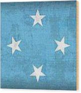 Micronesia Flag Vintage Distressed Finish Wood Print