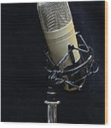 Microphone On Black Wood Print