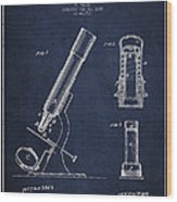 Microscope Patent Drawing From 1865 - Navy Blue Wood Print