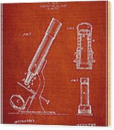 Microscope Patent Drawing From 1865 - Red Wood Print
