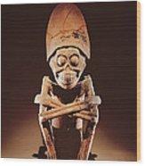 Mictlantecuhtli Lord Of Mictlan Remojadas Style, From Los Cerros, Tierra Blanca, Vera Cruz Pottery Wood Print