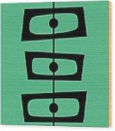Mid Century Shapes On Aqua Wood Print