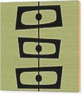 Mid Century Shapes On Avocado Wood Print