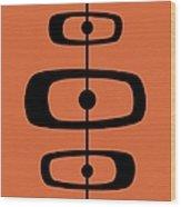 Mid Century Shapes 2 On Orange Wood Print