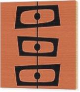 Mid Century Shapes On Orange Wood Print