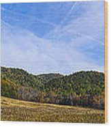 Mid-morning Panorama At Cades Cove Wood Print