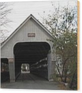 Middle Bridge Back Woodstock Vermont Wood Print