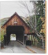 Middle Bridge Front Woodstock Vermont Wood Print