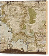 Middle Earth Map Burnt Edges Wood Print By Anthony Forster