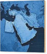 Middle East Topographic Map Wood Print