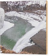 Middle Falls And Ice Feathers Wood Print