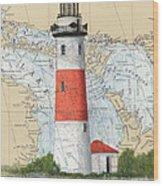 Middle Island Lighthouse Mi Cathy Peek Nautical Chart Art Wood Print